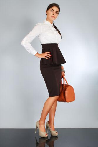 Damen Neu Elegant Rock mit Halskrause Hoch Taille Mehrfarben Größe 8-12 Fa36