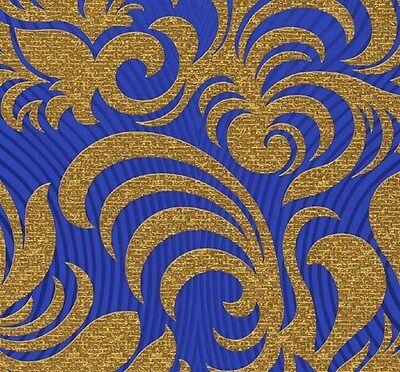 Vlies Tapete Marburg Glööckler 52547 Design Barock blau gold metallic