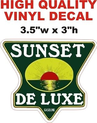 Vintage Style Sunset De luxe Gasoline Motor Oil Gas Pump Decal - The Best