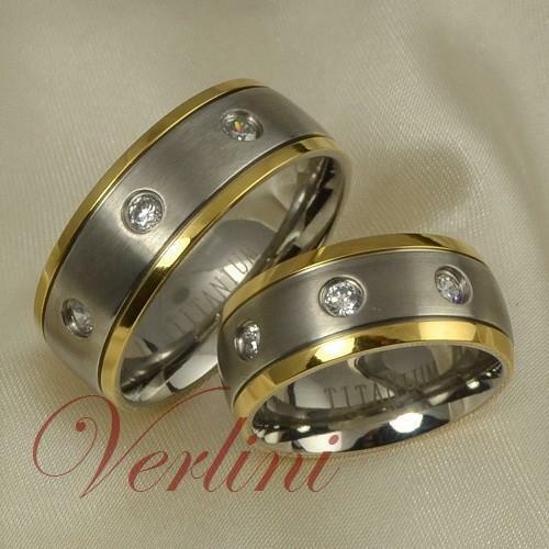 8MM Titanium Wedding Rings Set 14K Gold Accent Bands Diamond Simulated Size 6-13