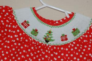 New little girls christmas smocked dress nwt red polka dot w tree amp
