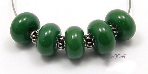 ROA Lampwork 5 Bullseye Olive Green Handmade Art Glass 7x11 mm Spacer Beads SRA