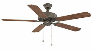 "52"" Ceiling Fan, Indoor / Outdoor, Patio Fan in Oil Oiled Rubbed Bronze"