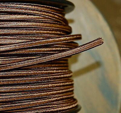 Brown 2-Wire Cloth Covered Cord 18ga Vintage Style Lamp Lights Antique Fan Rayon