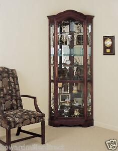 Howard Miller 680-249 Jamestown - Multiple Shelves Cherry Corner Curio Cabinet
