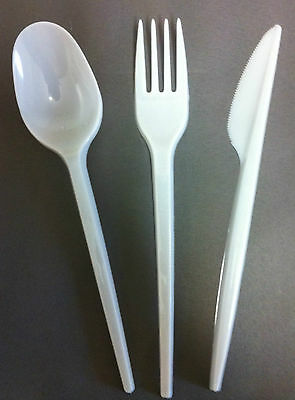 100 of each Knives Forks and Spoons Plastic Cutlery. Parties Celebrations etc.