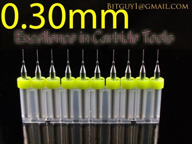 """Ten Solid Carbide Drill Bits:   #83   .012""""   0.30mm PCB CNC Dremel"""