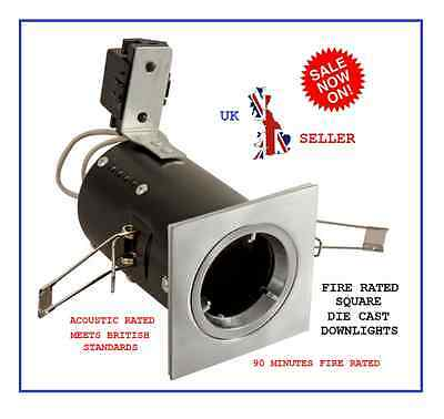 10 X FIRE RATED FIXED GU10 240V MAINS DIE CAST TWIST & LOCK SQUARE DOWNLIGHT