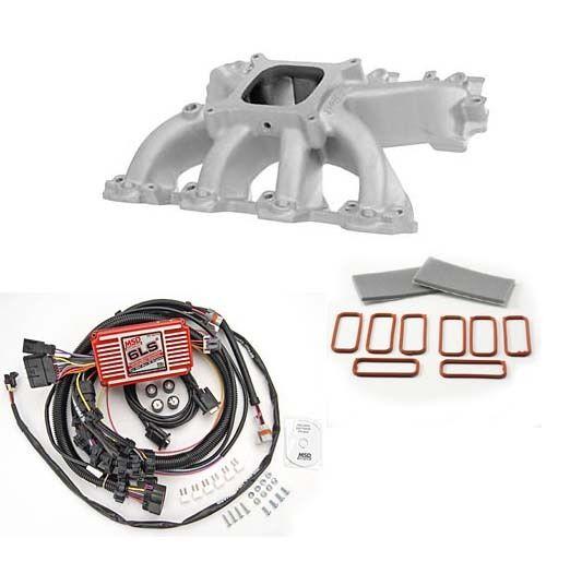 LS Cathedral Port Carb Intake Kit - Edelbrock Victor Jr Intake/MSD 6012 Ignition