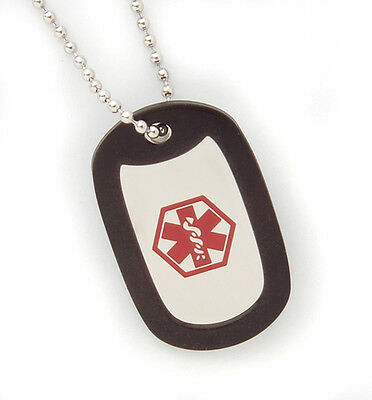 Stainless Steel Medical ID Dog Tag Necklace - Coumadin
