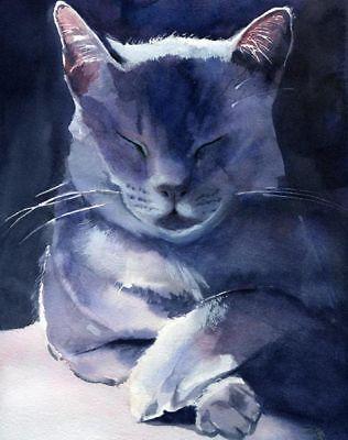 PRINT Giclee Russian Blue Grey Gray Cat Art Painting Decor Custom watercolor