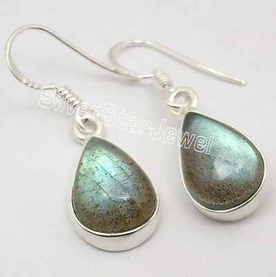 925 Silver LABRADORITE WONDERFUL Dangle Earrings 3.3CM