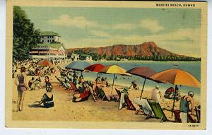 1930s Postcard Tourists on Waikiki Beach Hawaii