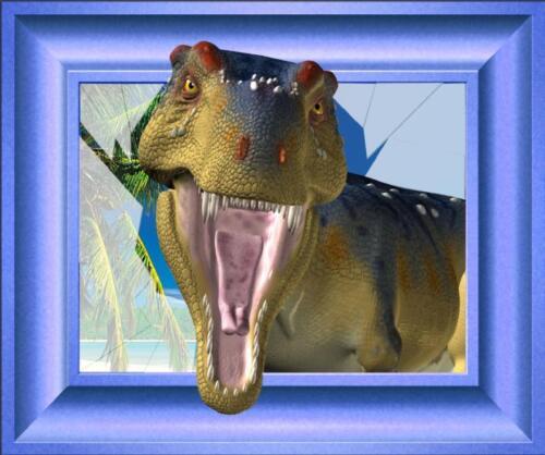 Sticker trompe l/' oeil dinosaur blue frame 105x87cm