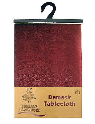 "52"" x 70"" Wine Colour Damask Tablecloth Flower Pattern (D108)"