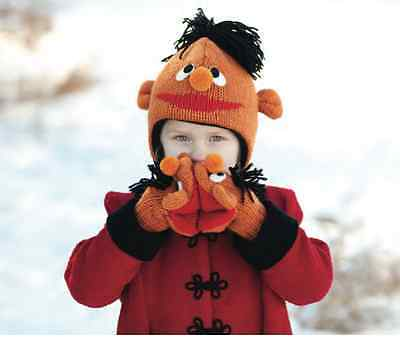 deLux Ernie HAT & MITTENS knit kids girl boy Lined Sesame Street costume earnie