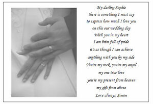 Image Is Loading Personalised Poem To My Wife On Our Wedding