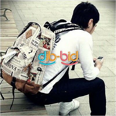 Fashion Unisex Newspaper Design Print Backpack Schoolbag Shoulder Girl Bag SSCA