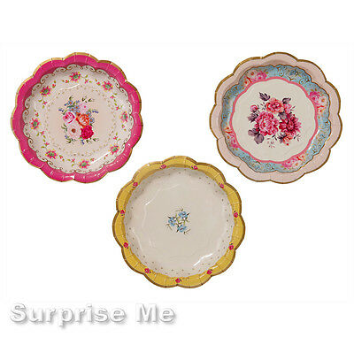 Dainty Floral Paper Cake Plates / Vintage Style / Tea Party Wedding Tableware 12