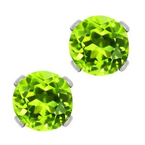 1-00-Ct-Round-Green-Peridot-925-Sterling-Silver-5-00mm-Stud-Earrings