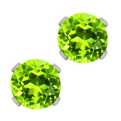 1.00 Ct Round Green Peridot 925 Sterling Silver 5.00mm Stud Earrings