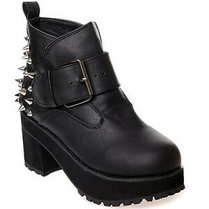 Spike-Studded-Punk-Womens-Chunky-Block-Heels-Round-Toe-Buckle-Ankle-Boots-Shoes