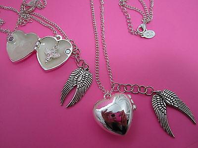 Guardian Angel Dangle  Heart Locket With Angel Wing Dangle Necklace