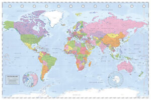Political world map poster miller projection gloss laminated new image is loading political world map poster miller projection gloss laminated gumiabroncs Images
