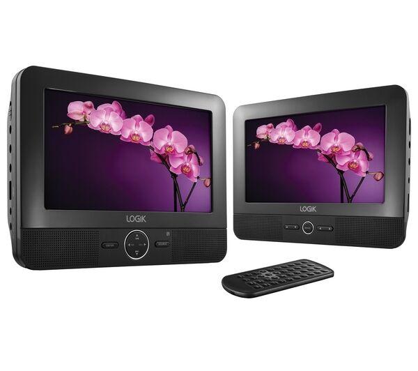 "LOGIK L7TWIN11 7"" In Car Dual Twin Screen Portable DVD Player With USB Slot"