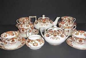 SAMUEL-RADFORD-IMARI-ANTIQUE-TEA-SET-TEAPOT-CUPS-SAUCERS