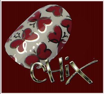 CHIX Nail Wraps Foils VALENTINE Love Romance Hearts Red Pink Stickers Vinyl Girl