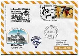 1995 Ballonpost N. 93 Pro Juventute Hb-bcq Gmunden Trilaterale Kirkham Onu Zoo Une Large SéLection De Couleurs Et De Dessins