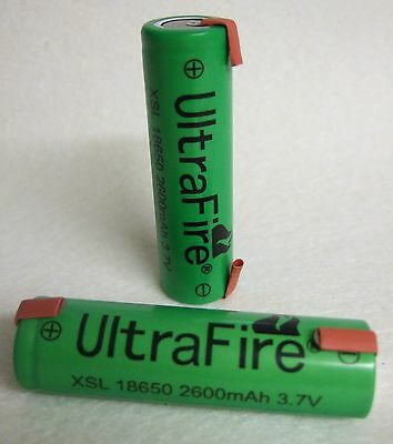 18650 Lithium Ion Battery 3,7V 2600mAh Solder Tags Notebook Self Made