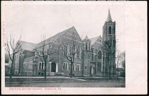FRANKLIN-PA-First-Baptist-Church-Venango-Music-Co-Vintage-Advertising-Postcard