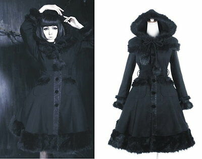 Goth Lolita Visual Royal Little black riding Hood Vivian Pixie parka coat LY024