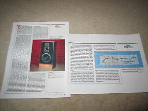 Advent Maestro Speaker Review, 1987, 2 pgs, Full Test