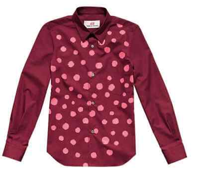 COMME DES GARCONS H&M RED COTTON PINK SPLATTER FITTED SHIRT XS 8 4 34 RARE NEW