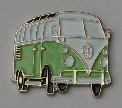 Green/White Split-Screen Campervan Enamel Pin Badge