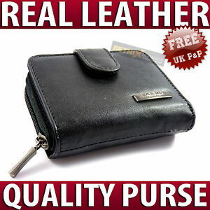 Ladies-REAL-LEATHER-PURSE-zip-round-wallet-6-card-slots-ID-window-QUALITY-NEW
