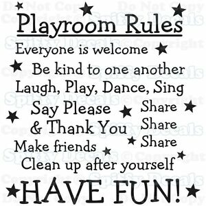PLAYROOM-RULES-NURSERY-SCHOOL-SHARE-FUN-Quote-Vinyl-Wall-Decal-Decor-Sticker