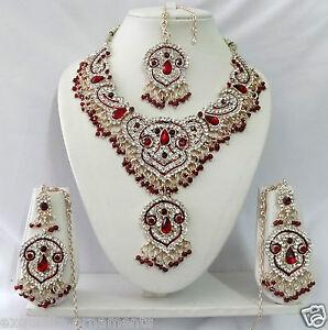 Indian-Bollywood-Jewellery-Fashion-Kundan-Diamante-Necklace-Set-Jewelry-T8093