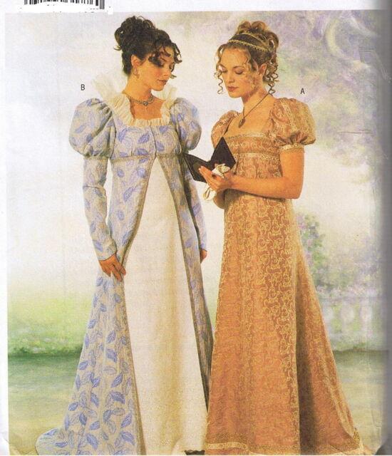 Historical Regency Empire Dress Gown Coat Jane Austen Costume Pattern 6 8 10