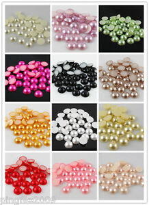 Free-shipping-200-pcs-10-mm-Half-Pearl-Beads-Flat-Back-Scrapbook-Pick-Your-Color