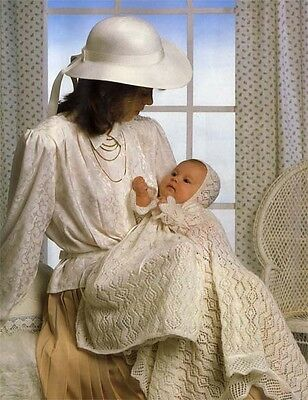 Baby knitted christening outfit and shawl in 2 ply wool- knitting pattern only