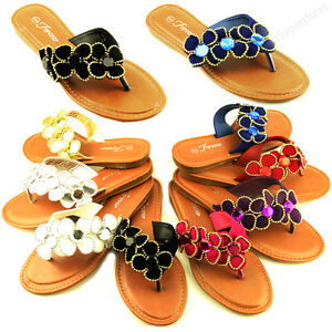 Womens-Flower-Flip-Flops-Flat-Beach-Sandal-Gemstone-Style-Thongs-Flats-Sandals