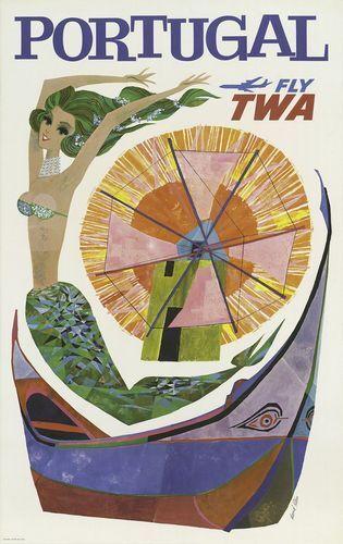 TWA Flights To Portugal Poster A3 / A2 Print
