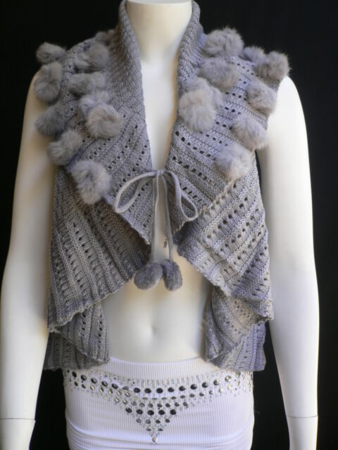 New Women Gray Trendy Knit Shawl Warm Sexy Top Faux Fun Ball Fashion Sweater L