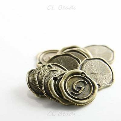 12pcs Antique Brass Base Metal Charms-Wax Seal-Letter G-19mm (15706Y-J-200)