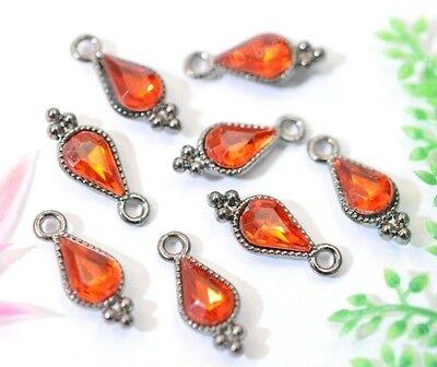 lots 20/40pcs Fashion Red Crystals Teardrop Charms Pendants 19X8MM