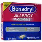 Warner Lambert Benadryl Dye-Free Allergy Relief LiquiGels -- 24 Liquid Gel Capsules (312547170215)
